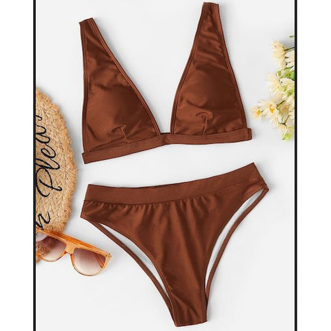 Crochet Solid Color Beach Bikini Set Swimsuit Swimwear