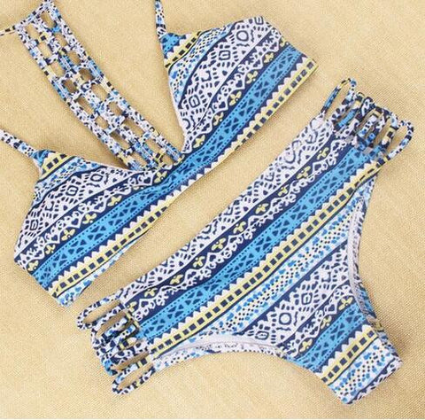 Hollow out printing low-cut bikini
