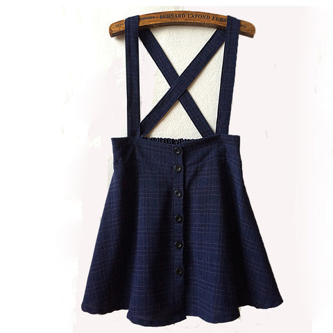 Checkered cartoon embroidered skirts strap skirts