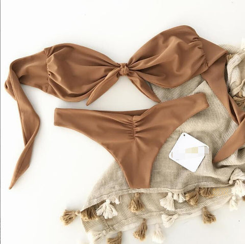 Bow Fashion Strapless Solid Color Beach Bikini Set Swimsuit Swimwear
