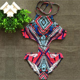 Retro hollow Printed One Piece Swimwear