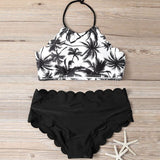 Fashion Coconut Tree Print High Neck Beach Bikini Set Swimsuit Swimwear