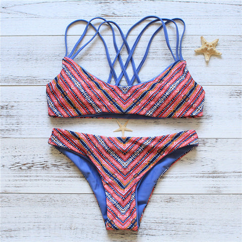 Striped Print Retro Bikini Set Swimsuit Swimwear