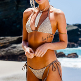 Fashion Boho Crochet Tassel Halter Beach Bikini Set Swimsuit Swimwear