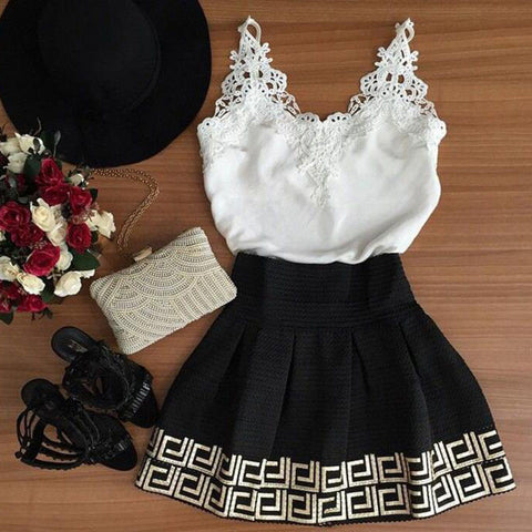 Retro V-neck lace dress