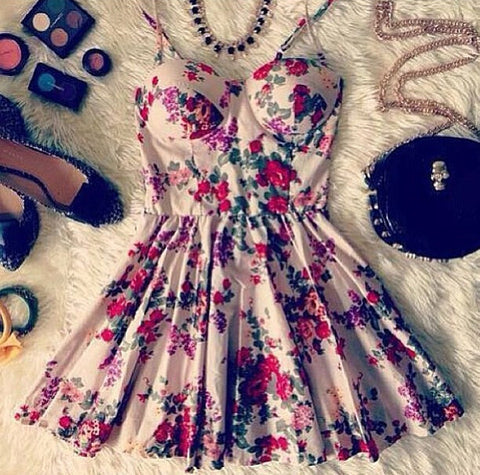 shoulder strap Print Dress