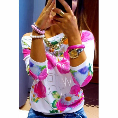 Printed roses round neck T-shirt