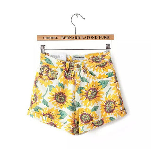 Sunflower Print High Waist Shorts