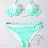 Shell Solid Halter Beach Bikini Set Swimsuit Swimwear