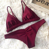 Crochet Fashion Solid Color Beach Bikini Set Swimsuit Swimwear