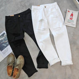 Women'S Solid Color Hole Loose Jeans