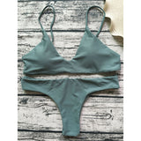 Solid Color Strap Bikini Set Swimsuit Swimwear