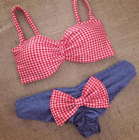 Fashion Stripe Bowknot Bikini Swimsuit Swimwear