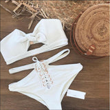 Strapless High Waist  Strappy Bikini Set Swimsuit Swimwear