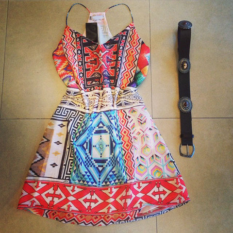 Fashion V Neck Print Dress
