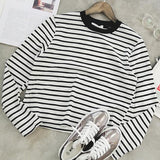 Women'S Loose Round Neck Striped T-Shirt