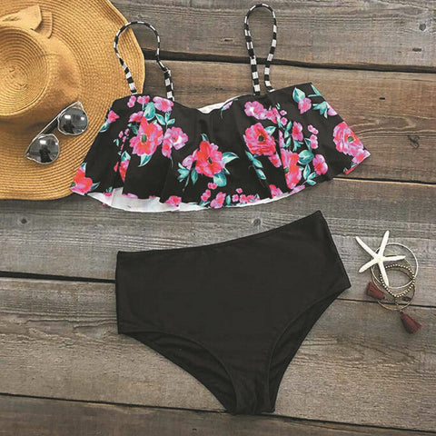 High Waist Fashion Print Strap Hollow Beach Bikini Set Swimsuit Swimwear