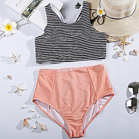 Stripe Print High Waist Beach Bikini Set Swimsuit Swimwear