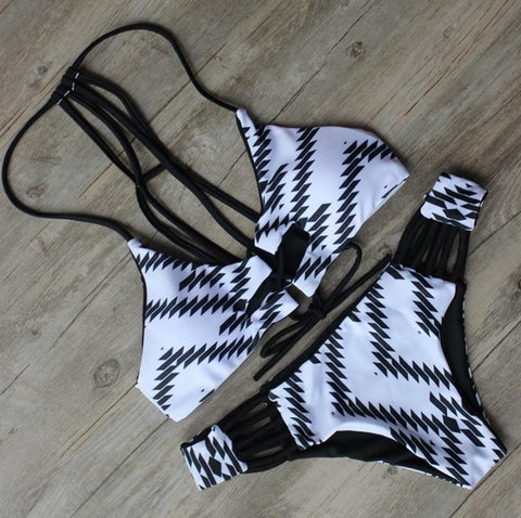 Hollow Geometric Pattern Bikini Set Swimsuit Swimwear