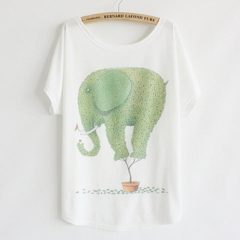 Cartoon Elephant Loose Short Sleeve T-Shirt