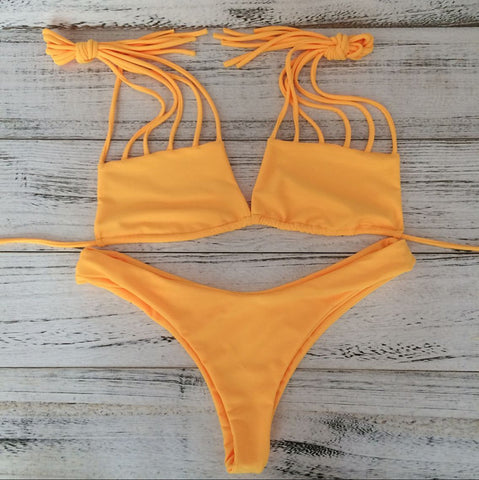 Low Waist Hollow Beach Bikini Set Swimsuit Swimwear