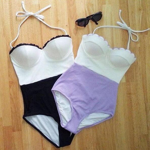 splicing Solid one Piece Bikini Swimsuit Swimwear