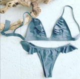 Flounce Solid Color Strap Beach Bikini Set Swimsuit Swimwear