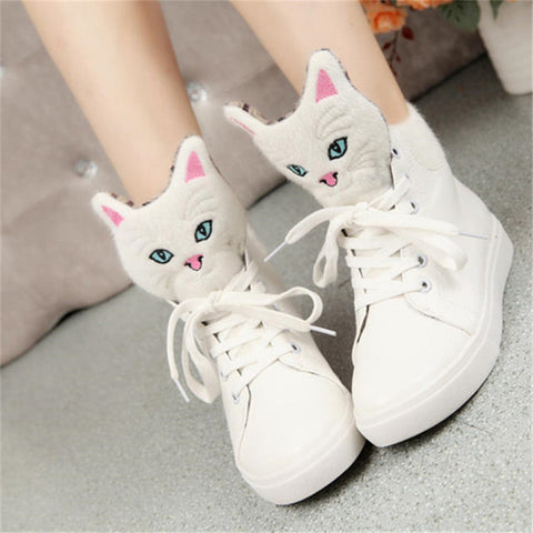 Cute cat lace up casual shoes flat shoes