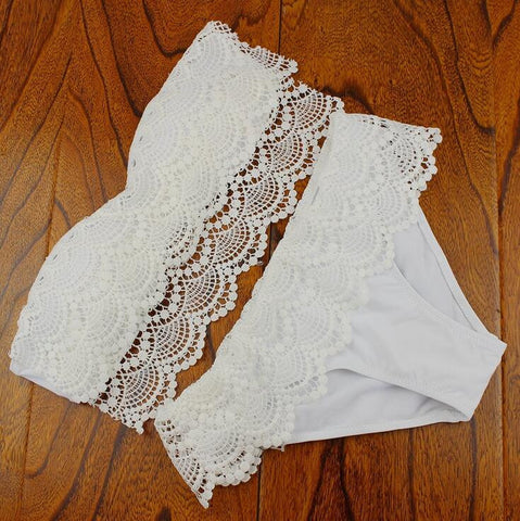Fashion lace Solid color triangle bikini