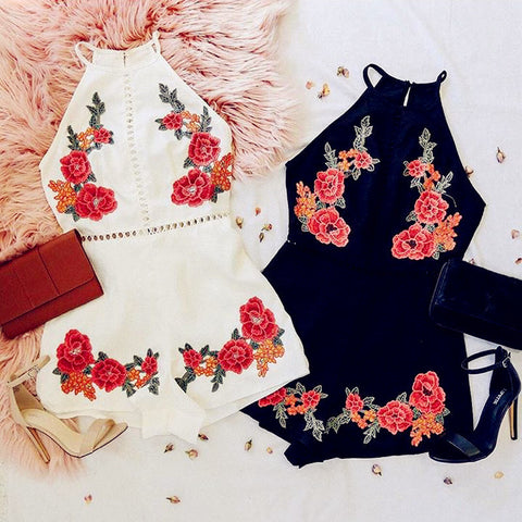 Fashion Rose Embroidery Strap Hollow Romper Jumpsuit