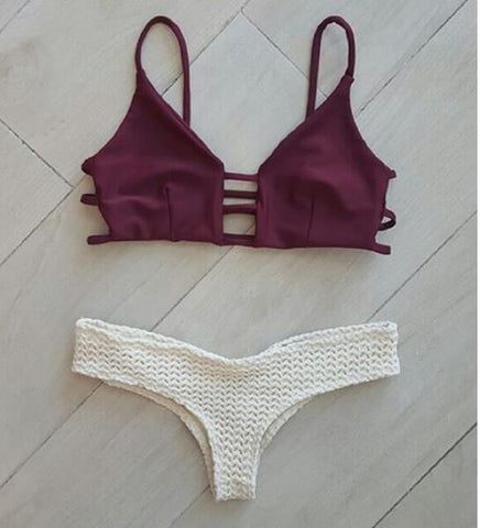 Edgy Fashion Hollow Strap Beach Bikini Set Swimsuit Swimwear