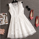 Fashion Sleeveless Hollow Chiffon Lace Dress