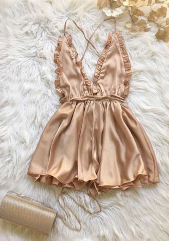 Deep V-Neck Strap Backless Romper Jumpsuit  Bodysuit