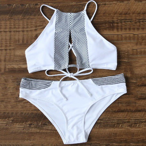Solid Color Hollow Out Halter Beach Bikini Set Swimsuit Swimwear