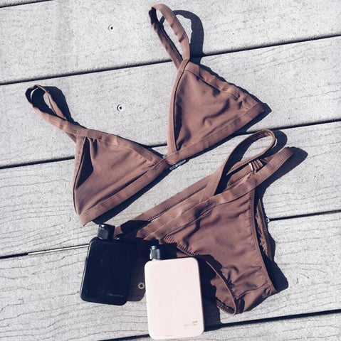 Strap Solid Color Hollow Beach Bikini Set Swimsuit Swimwear