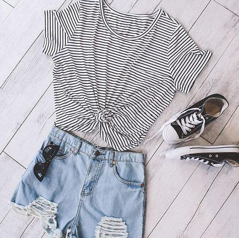Striped Short Sleeve Round Neck T-Shirt