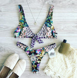 Fashion Print Strap Beach Bikini Set Swimsuit Swimwear