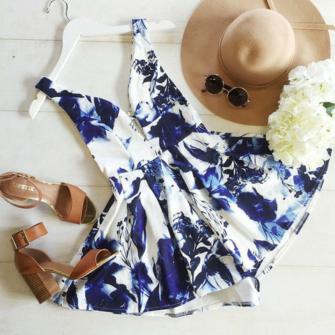 Deep V printing sleeveless jumpsuit rompers