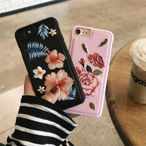 Fashion Flower Embroidery iPhone 6 6s 6Plus 6sPlus 7 7 Plus Phone Cover Case