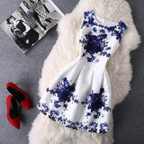 Fashion Round Neck Print Sleeveless Dress