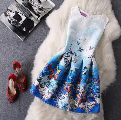 Retro Fashion Print Sleeveless A-Line Dress-54