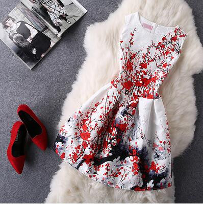 Retro Fashion Print Sleeveless A-Line Dress-19
