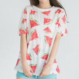 Cute watermelon printed short-sleeved T-shirt