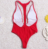 Sexy solid color triangle one piece swimsuit