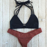 Hollow Strappy Fashion Halter Bikini Set Swimsuit Swimwear