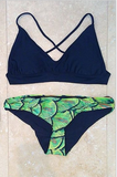 Beach Print Fashion Bikini Set Swimsuit Swimwear