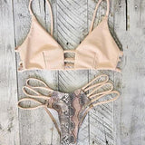 Hollow Out Snake Print Fashion Bikini Swimsuit Swimwear