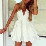 Deep V flouncing dress