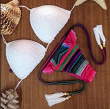 Fashion weave thong beach Swimwear Bikini Swimsuit