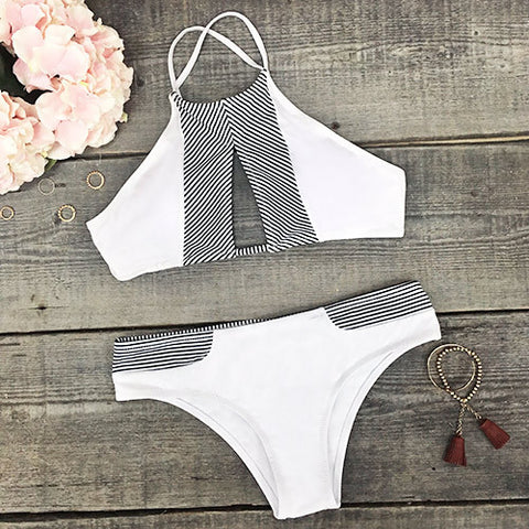 Stripe Print Halter Beach Bikini Set Swimsuit Swimwear